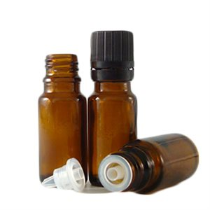 1 / 3 oz. Amber Glass bottles with Dropper Tops & Caps (12 pack)