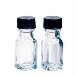 1 dram (.125 oz.) Clear Glass Bottles with Caps (28 pack)