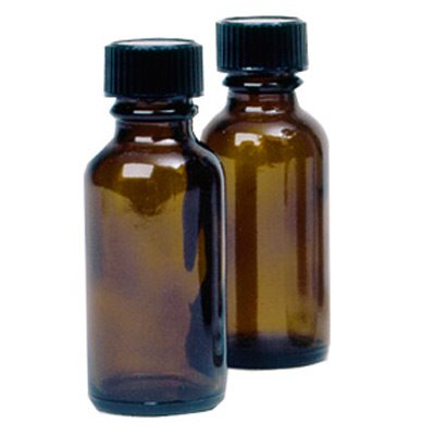 1 oz. Amber Glass Bottles with Caps (6 pack)
