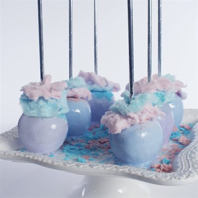Colorful Cotton Candy Apples