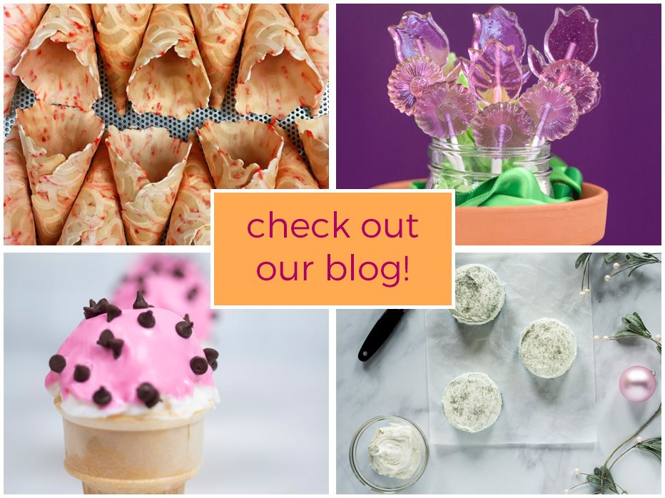 Peppermint waffle cones, lollipop bouquet, magic shell ice cream cone,