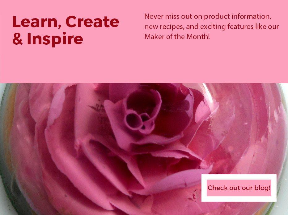 Gelatin art containing a pink rose design